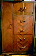 Stunning Vintage Armoire Wardrobe Art Deco Dresser Bureau Chest of Drawers