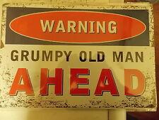 warning grumpy old man ahead     tin metal sign MAN CAVE brand new