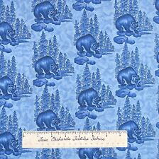 Riverwoods Fabric - Grizzly Bear Scene Blue - Woods Water Wildlife Cotton YARD