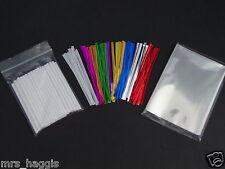 "50 X 3.5""  CAKE POP KIT PLASTIC STICKS  3.5x5"" CELLO BAGS & METALLIC TWIST TIES"