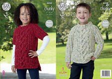 King Cole 4420 Knitting Pattern Sweater and Tunic in King Cole Chunky Tweed