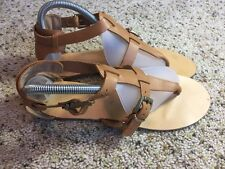 Womens ALDO Tan Strappy Flat Sandal Shoes ~ Euro Size 40 / USA Size 9 Kd1
