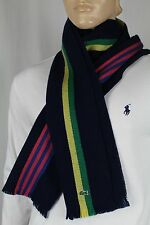 Lacoste Live Navy Blue Green Yellow Pink Wool Scarf NWT