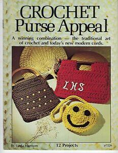 Crochet Porte-Monnaie Appeal Sac à Main Gabarit Vintage 1970's Craft Livre #7229