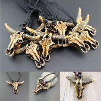 Unisex Black Amulet Carved Cow Head Pendant Jewelry Imitation Yak Bone Necklace