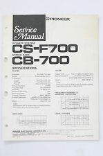 Pioneer cs-f700 CB-700 Speaker System Service Manual/Guide/ WIRING DIAGRAM! O68B