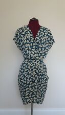 *Whistles* Blue Swallow Bird Print Tulip Drape Pocket Dress, UK6