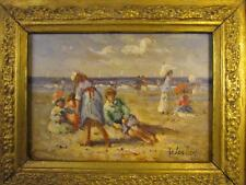 *FINEST* 1990s BEAUTIFUL KIDS PLAYING AT THE BEACH OIL PAINTING signed WESLEY