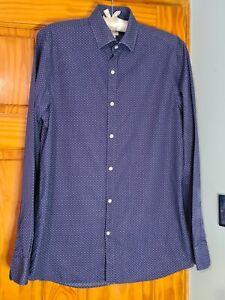 Reiss 1971 Poka-Dot Blue long sleeves Mens Shirt Size L