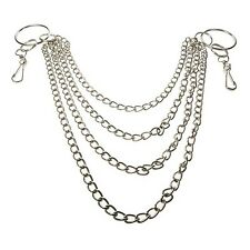Silver 4 Row Metal Chain/w 2 large Rings / Jean Chain Gothic EMO Rock CH05