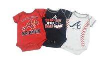Atlanta Braves MLB Official Baby Infant Size 3 Piece Creeper Bodysuit Set New