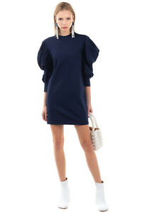 MARIUCCIA Mini Sheath Dress Size XS Unlined Stretch Puff Shoulders 3/4 Sleeve
