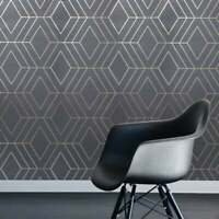 Triangle Geometric lines wallpaper gray bronze metallic Textured wall coverings