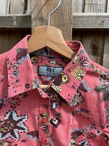 Hawes And Curtis Floral Blouse Shirt Size 10 Cropped Sleeves
