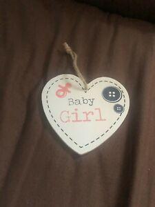 Baby Girl Hanging Heart Sign - MDF Wooden Wall Door Plaques Gift New Born