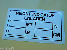 Commercial Vehicle CAB Height Indicator HGV Sticker 1 off 130mm