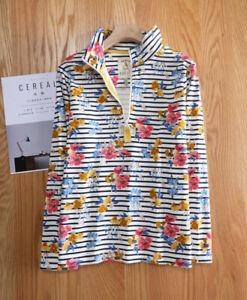 New Ex Joules UK Size 22 Ladies Floral Strip Pip Half Zip Turtle Neck Sweatshirt