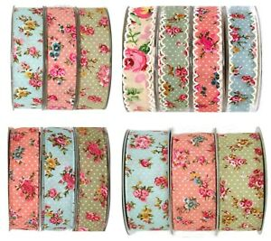 VINTAGE STYLE ROSE PRINT 25MM-38MM RIBBON Lace Edge/ Wired Edge or Cut Edge
