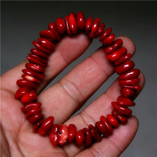 Beautiful Natural Red Coral Stretchy Bangle Bracelet