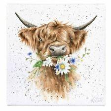 Wrendale Daisy Cow 20cm Canvas - Handmade Animal Wall Art by Hannah Dale