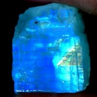 100% Natural Power Blue Fire Rainbow Moonstone Rough Slab Cabochon Material Gems
