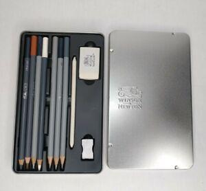 Winsor & Newton Pencils Graphite Pencil Tin 7 Pencils Smudge Eraser Sharpner