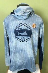 Mens Pelagic Performance Offshore Gear Exo-Tech Hoodie Fishing Shirt Blue NWT
