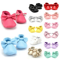 Soft Bow Tassel Leather Shoes Baby Kids Boy Girl Infant Toddler Moccasins 0-18M
