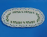 "Royal Limited HOLLY HOLIDAY 13.5"" Oblong Serving Tray Pierced Edge Gold Trim NWT"