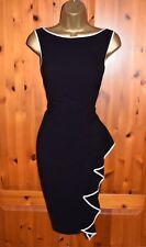 Vestido de Fiesta Costa impresionante negro Wiggle Cóctel Boda Ocasión Reino Unido 14