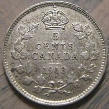 Canada 1913 5 Cents Silver Large 5 Almost Uncirculated
