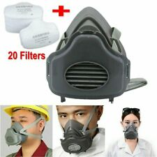 Safety Gas Mask Respirator Half Face For Painting Spraying Facepiece 20 Filters