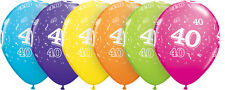 """40th Birthday Party Balloons 11"""" %7bQualatex%7d Pack of 6 (Helium Quality/Age 40)"""