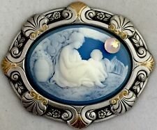 """BEAUTIFUL MOTHER AND CHILD CAMEO W/ GLASS BALL MOON~Stamped Brass~Button~2 1/4"""""""