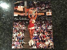 Spud Webb Signed 8x10 With Slam Dunk Inscription Rare Stacks Of Plaques Coa