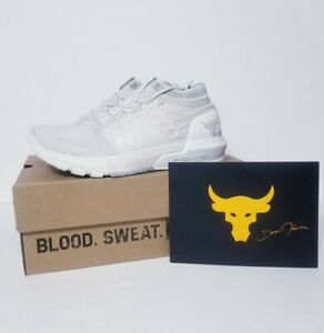 Under Armour Project Rock 2 White Gym Training Shoes 3022398-103 Women's Size