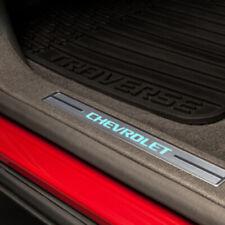 2014-2017 Chevy Traverse Front Door Scuff Plates Illuminated Ebony New 23487420