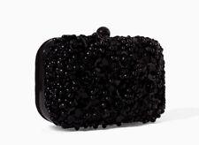 ZARA WOMAN BLACK BEADED FLOWER BOX CLUTCH HANDBAG EVENING