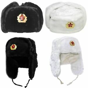 Adults Russian Trapper Hat With Soviet Badge Faux Fur Ushanka Cossack Flaps Hat