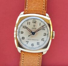 Tudor 9k SOLID GOLD trench watch + small rose dial & pencil hands 9ct vintage