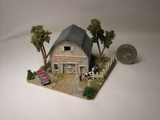 Z scale scratch built Old Rural Barn With Cows - building, structure