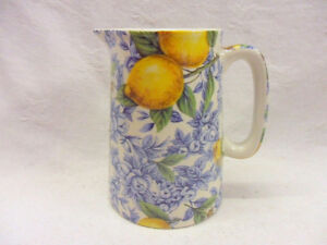 Blue lemon half pint jug pitcher jug by Heron Cross Pottery
