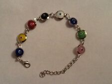NEW DESIGN RAINBOW GLASS BEADS NAZAR BONCUK EVIL,LUCKY EYE TURKISH BRACELET.