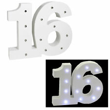 LED Light UP White Number 19 x 16cm Block Birthday Gift - 16th Birthday