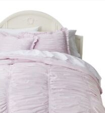 Simply Shabby Chic Twin Duvet Sham Set Pink Textured Ruched Comforter Cover
