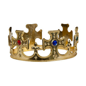Royal Gold Crown Adults Fancy Dress Mens Ladies King & Queen Accessory