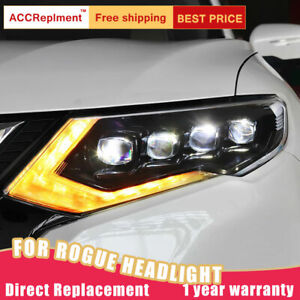 For Nissan Rogue Headlights assembly LED Lens Projector ALL LED DRL 2017-2019