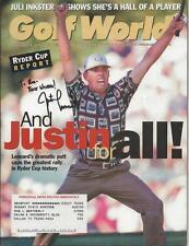 Justin Leonard Signed 1999 Golf World Full Magazine Ryder Cup