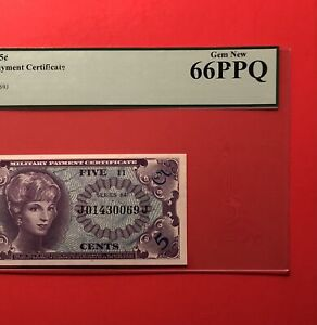 641 SERIES 5C MILITARY PAYMENT CERTIFICATE(1st PRINT),PCGS GRADED,GEM NEW 66 PPQ