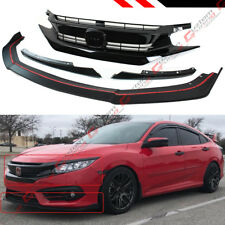 FOR 2016-18 10TH GEN HONDA CIVIC FRONT BUMPER LIP SPLITTER + RS STYLE BLK GRILL